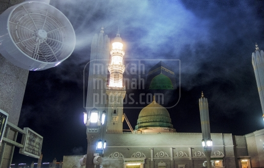 The Green Dome and water spray fan, near Bab Jibril.