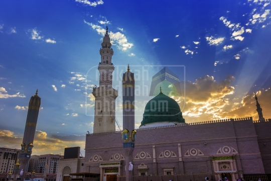 A view from eastern side of the Masjid Nabawi sharif on sunset time.