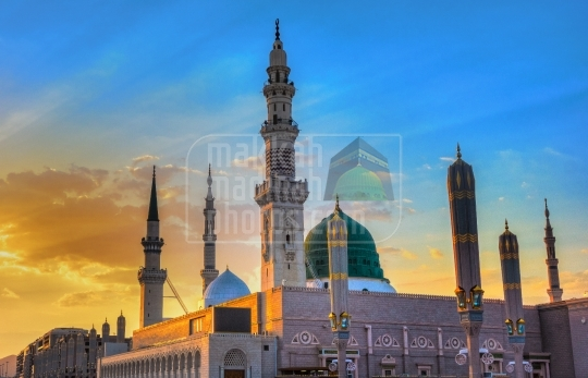 An evening shot of the Green Dome and Minarets.
