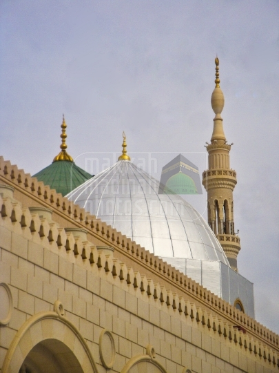 Green and Silver domes, Holy Mosque