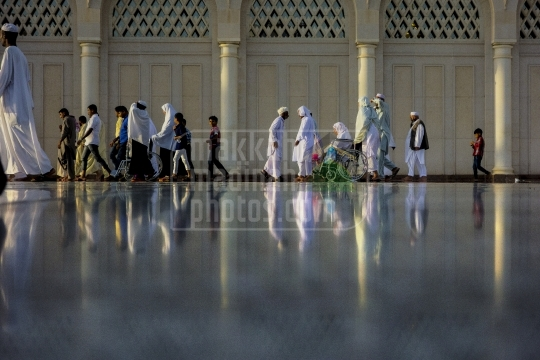 Pilgrims walking on beside the South wall, Madinah