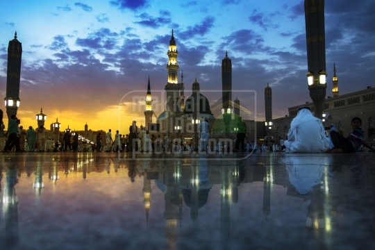 An evening shot near green dome.