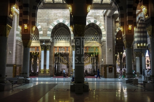 Arches inside Holy Mosque.