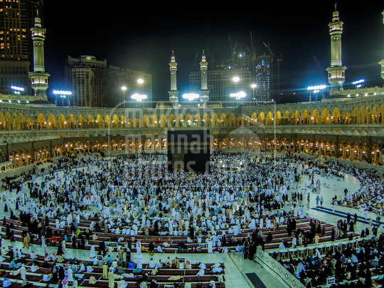 kaaba a night view