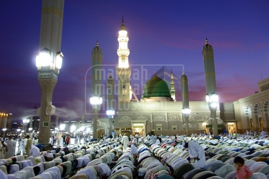 Maghrib prayer at Holy Mosque
