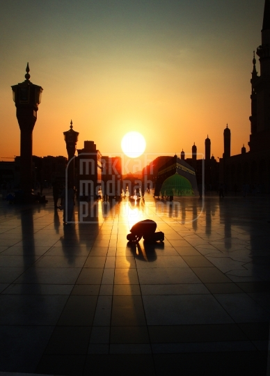 Praying on the Piazza of Holy Mosque, Medinah